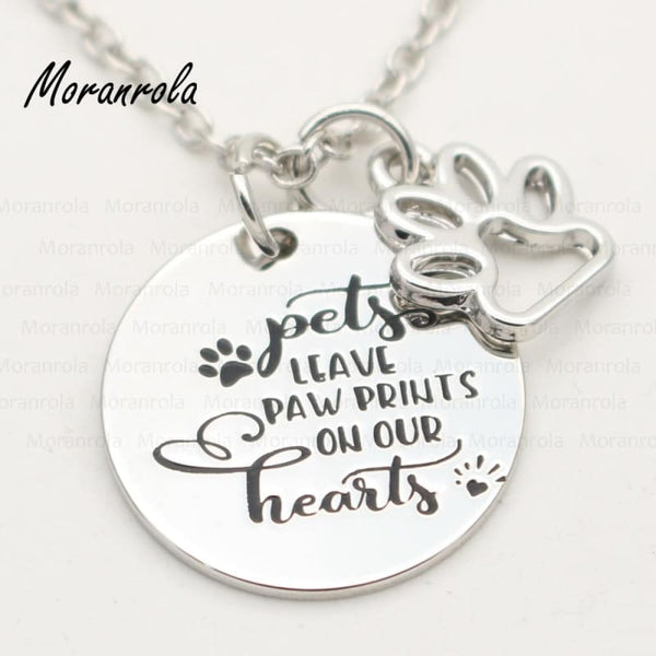 Pets Leave Paw Prints On Our Hearts charm necklace or keychain - Jewelry