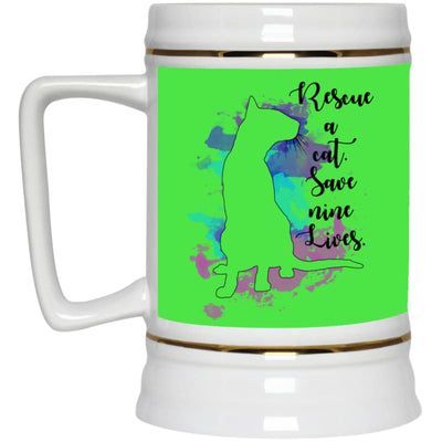 Rescue A Cat... 22217 Beer Stein 22Oz. - Kelly / One Size - Drinkware