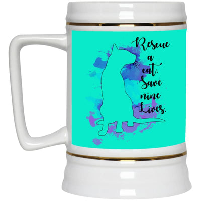 Rescue A Cat... 22217 Beer Stein 22Oz. - Teal / One Size - Drinkware