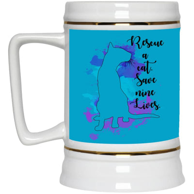Rescue A Cat... 22217 Beer Stein 22Oz. - Turquoise / One Size - Drinkware
