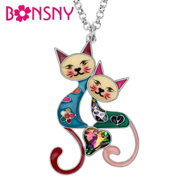 Rhinestone Crystal Double Cat Necklace Pendant - Jewelry