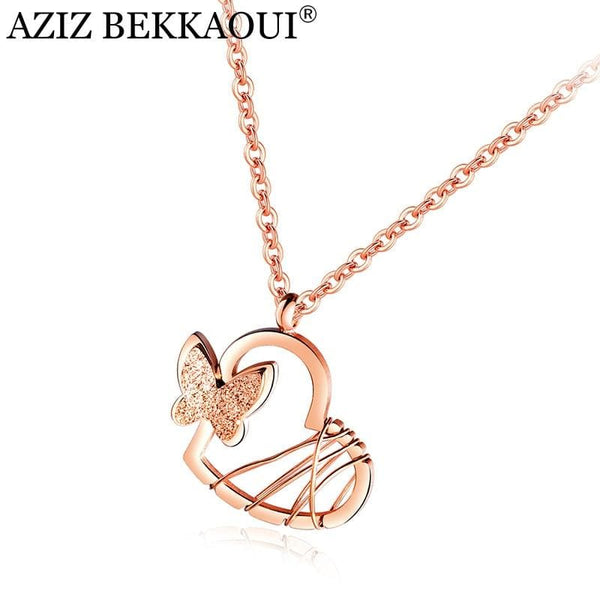 Rose Gold Heart Stainless Steel Butterfly Necklace for Women - Jewelry