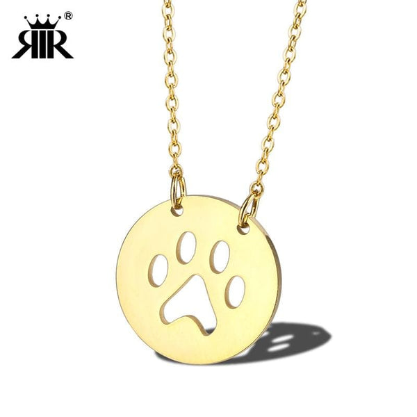 Silver Rose Gold Gold Paw Print Round Necklace Stainless Steel - Jewelry