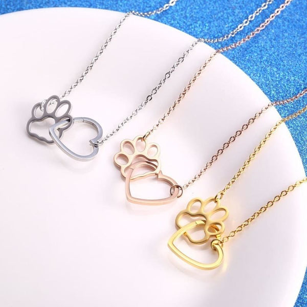 Silver Rose Gold Gold Stainless Steel Hollow Cute Paw Love Heart Pendant Necklaces - Jewelry