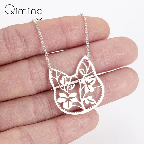 Stainless Steel Choker Cute Cat Branch Leave Pendant - Jewelry
