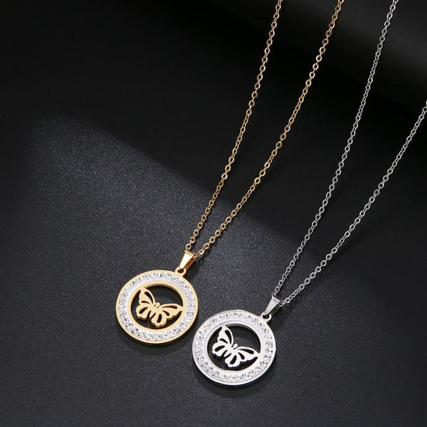 Stainless Steel Crystal Round Butterfly Pendants Necklace - Jewelry