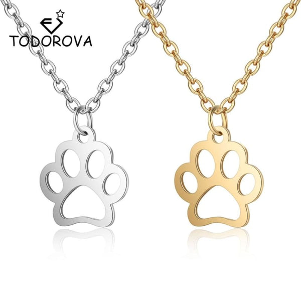 Stainless Steel Jewelry Paw Print Necklaces & Pendants - Jewelry