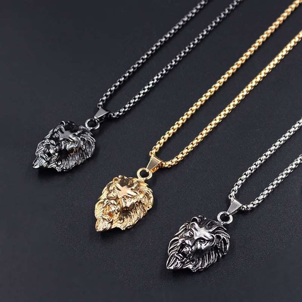 Stainless Steel Lion Head Gold Sliver Black Color Chain Necklaces Pendant - Jewelry