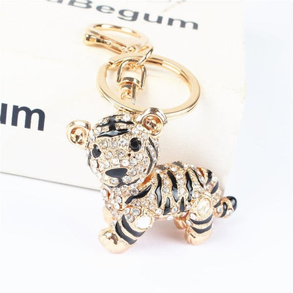 Tiger Lovely Pendant Charm Rhinestone Crystal Key Chain - Accessories
