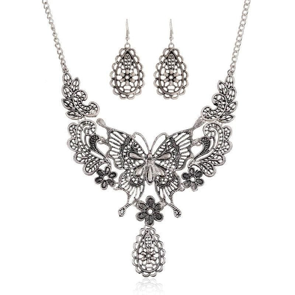 Vintage Hollow Butterfly Necklace/Earrings for Women in 2 Colors - Jewelry