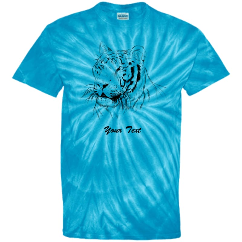 8656652fe Youth Hoover Tiger Line Art Custom Tie Dye T-Shirt - Spider Turquoise / Yxs