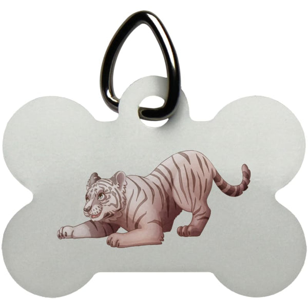 Zabu Tiger Pounces Dog Bone Pet Tag - White / One Size - Pet Accessories