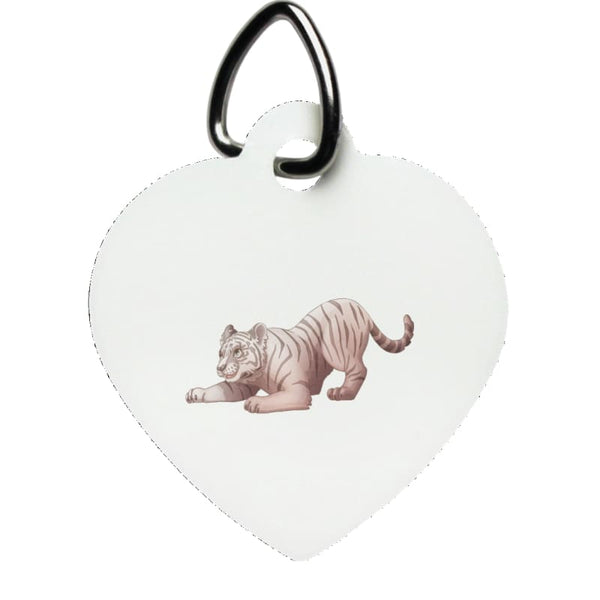 Zabu Tiger Pounces Heart Pet Tag - White / One Size - Pet Accessories