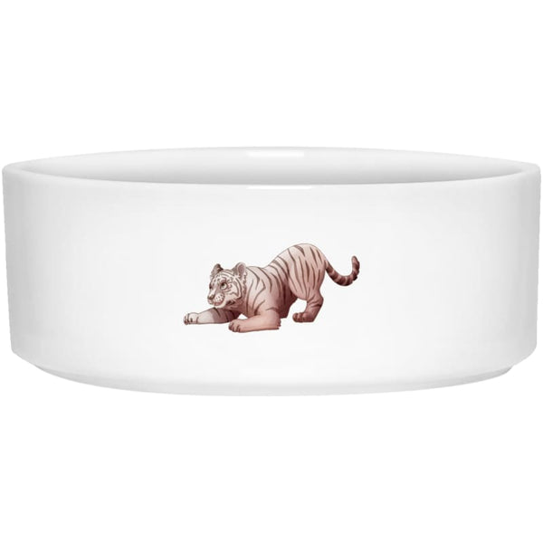 Zabu Tiger Pounces Pet Bowl - 6 inch - White / One Size - Pet Accessories