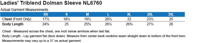 Image result for NL6760 Next Level size chart