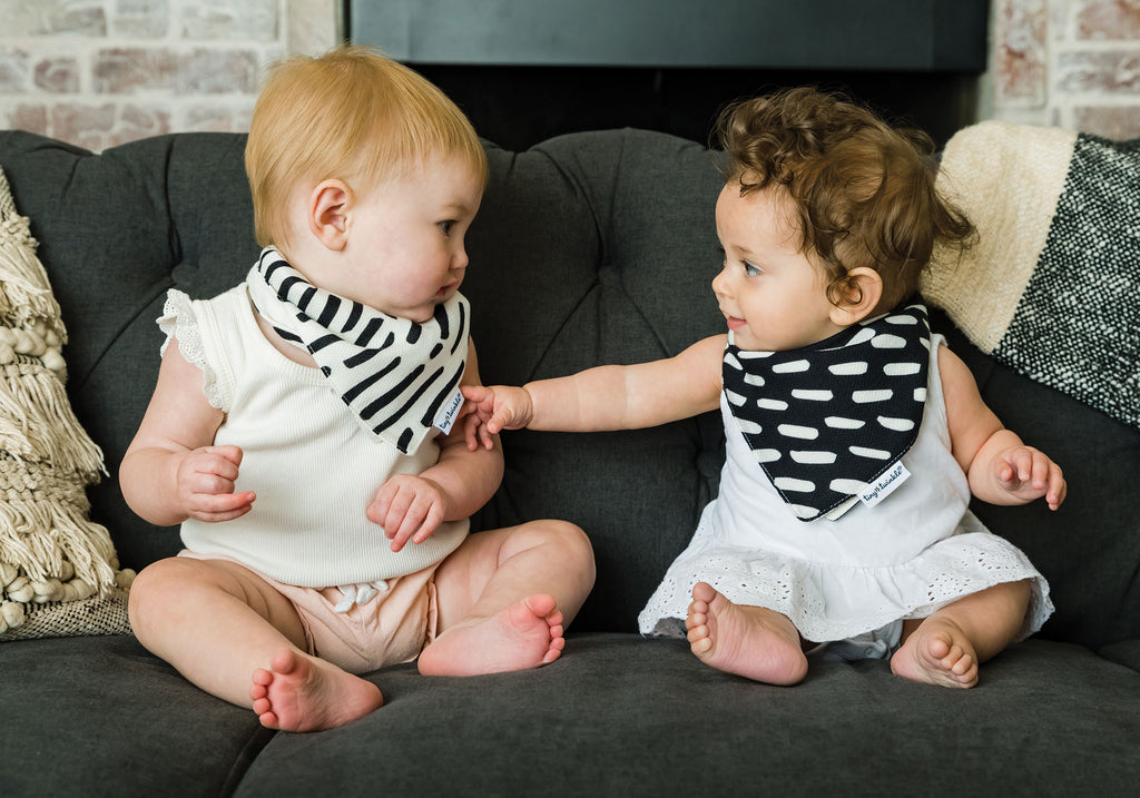 Bandana Bib - Black & White Set of 2