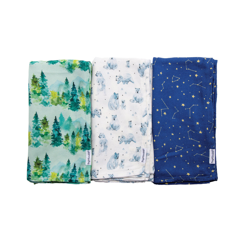 Kaffle® Swaddle Blanket - Forest Set of 3