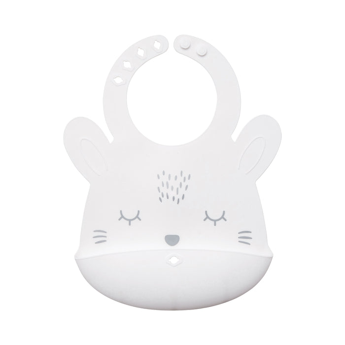 Silicone Roll-up Bib - White Bunny