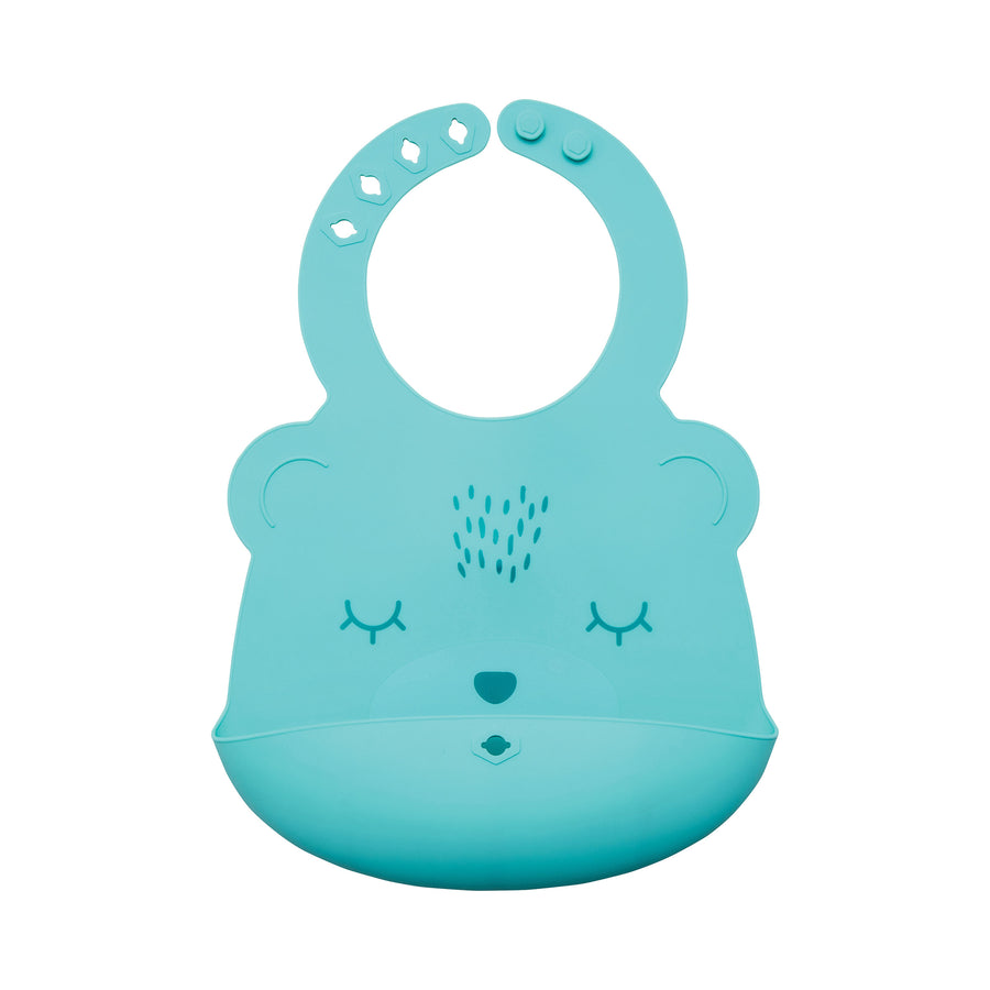 Silicone Roll-up Bib - Mint Bear