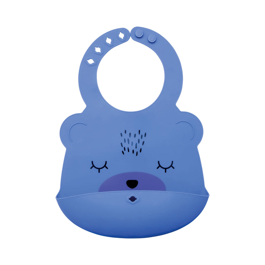 Silicone Roll-up Bib - Indigo Bear