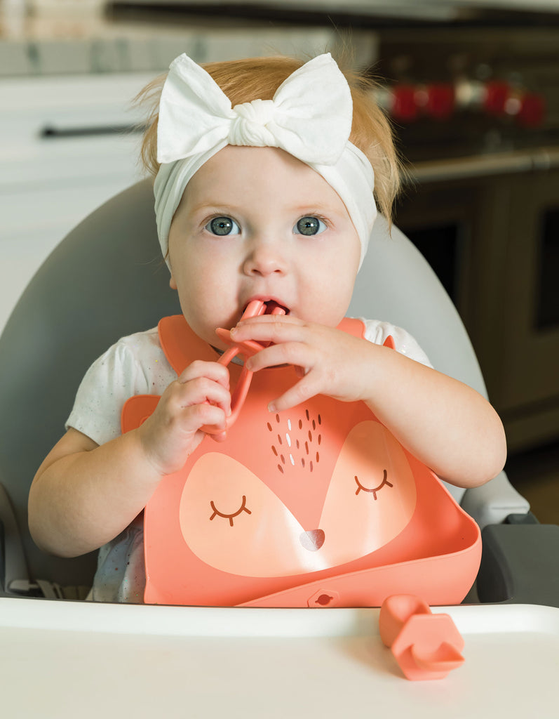 Silicone Roll-up Bib - Coral Fox