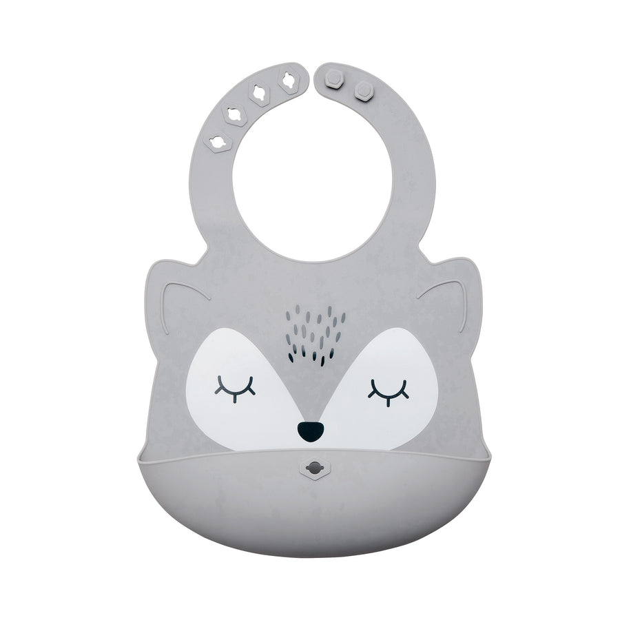 Silicone Roll-up Bib - Grey Fox