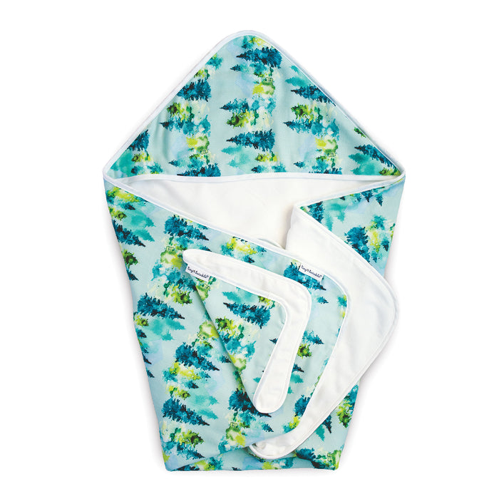 Hooded Towel and Washcloth Set - Forest