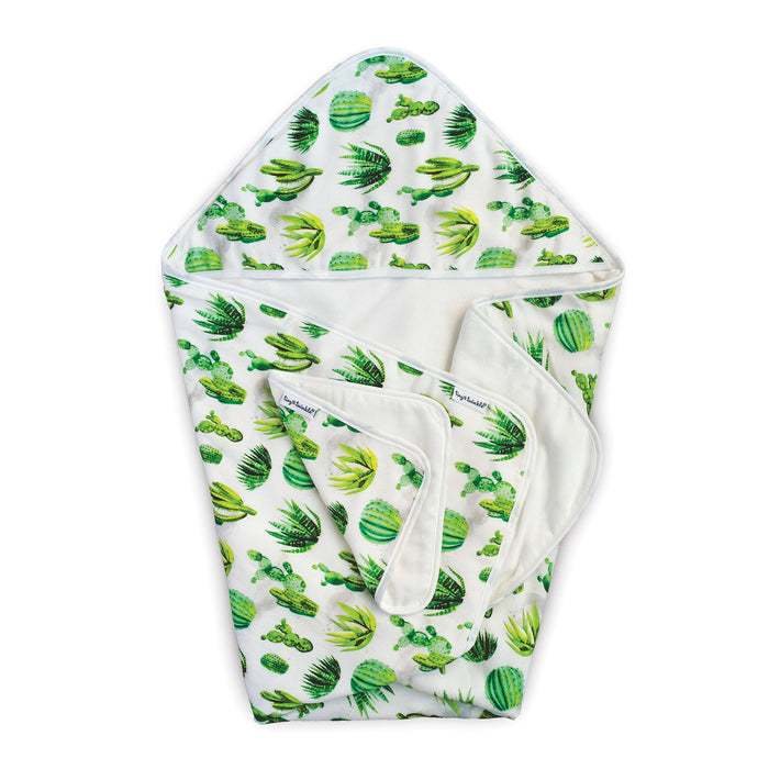Hooded Towel and Washcloth Set - Cacti