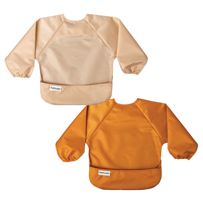 Mess-proof Full Sleeve Bib Set of 2 - Sand, Cinnamon