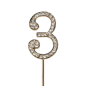 Diamante 3 Cake Topper - Gold Metal