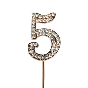 Diamante 5 Cake Topper - Gold Metal