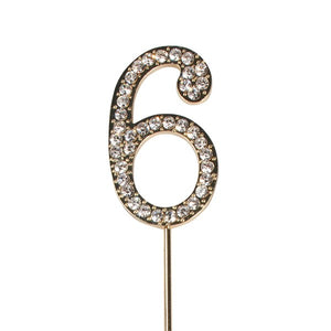 Diamante 6 Cake Topper - Gold Metal