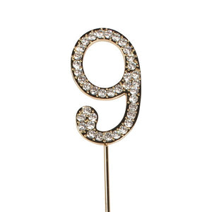 Diamante 9 Cake Topper - Gold Metal