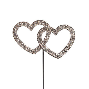 Diamante Double Heart Topper