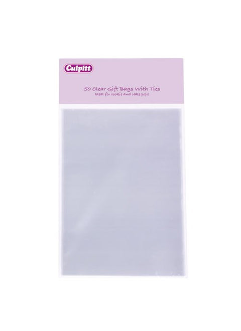 Small Clear Gift Bags with Ties - 50 Pack