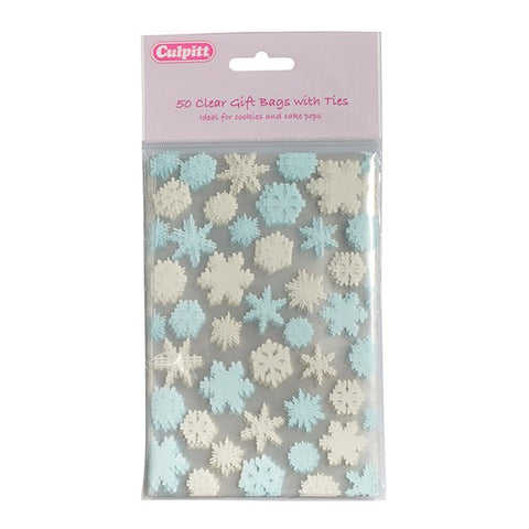 Snowflake Favour Bag with Ties - 50 Pack