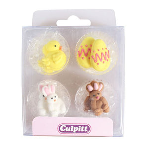 Chick, Egg and Rabbit Sugar Pipings - 12 pack