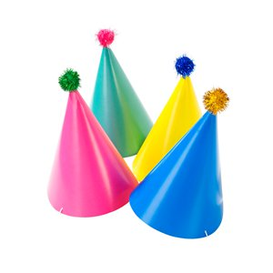 Bright Party Hats - 4 Pack