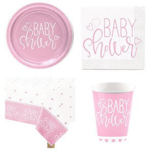 Baby Shower Baby Girl Pink Hearts Party Pack for 8 Guests