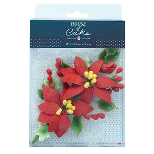 Poinsettia Wired Sugar Flower Spray - 140mm - House of Cake