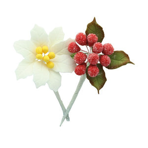 Mini White Poinsettia Sugar Spray - House of Cake  - 4 piece set