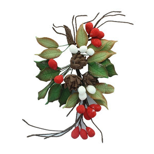 Pine Cone and Holly Spray - 160mm  x 180mm- House of Cake