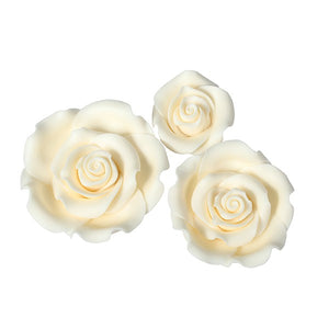 Ivory Sugar Roses - Mixed Pack - SugarSoft® - 12 Pack