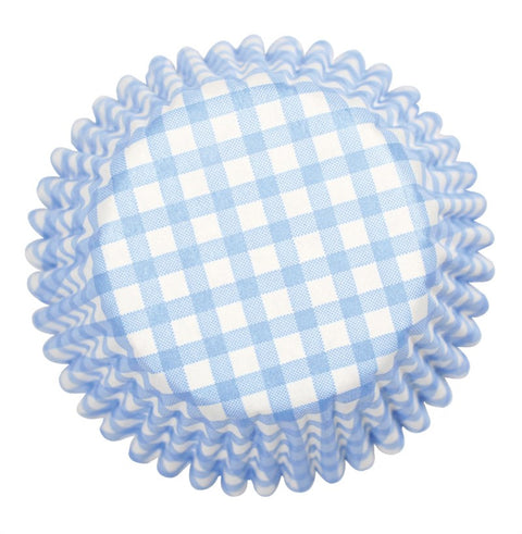 Blue Gingham Printed Baking Cases - 54 per pack