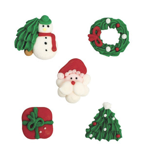 Assorted Christmas Design Sugar Toppers - 20 Pack