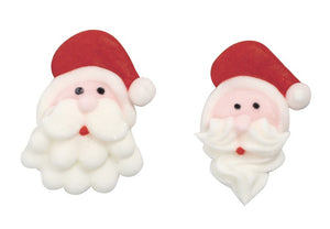 Christmas Santa Head Sugar Toppers - 20 Pack
