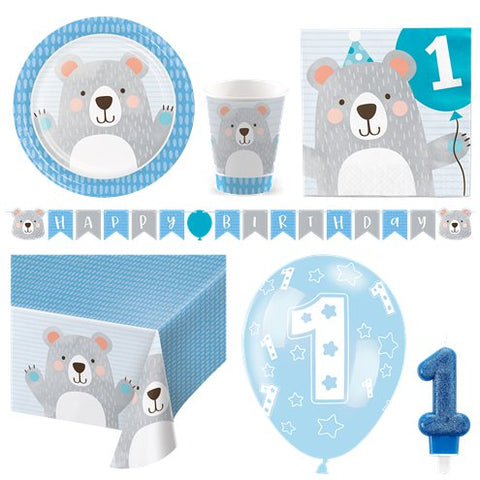 Birthday Bear 1st Birthday Party Pack - Deluxe Kit for 8