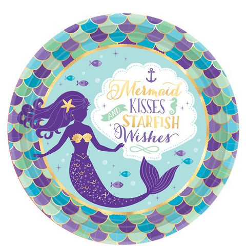 Mermaid Wishes Party Large Round Plates 23cm