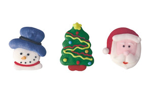 Christmas Santa, Snowman & Tree Sugar Toppers - 21 Pack