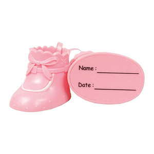 Pink Baby Bootees - Plastic Cake Topper